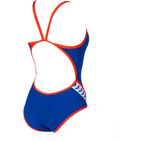 arena Team Stripe Superfly Back One Piece Swimsuit Women neon blue/nectarine